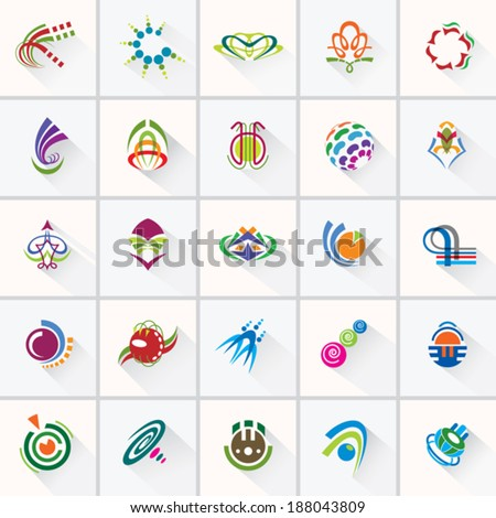 ABSTRACT COLORFUL DESIGN ELEMENTS . Collection with icons for abstract logo.  - stock vector