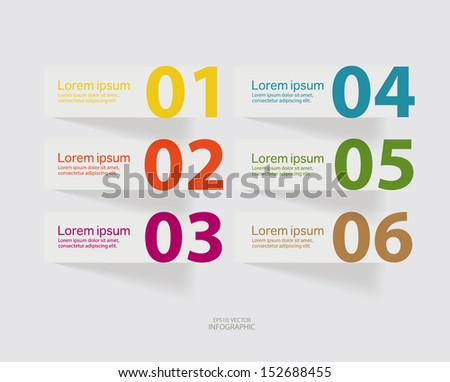 Abstract colorful design infographics number options banner template.