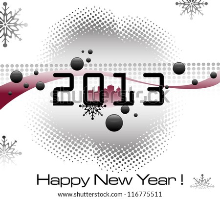 Abstract colorful design with black bubbles, snowflakes and the number 2013 written in the middle of the image. New Year concept - stock vector