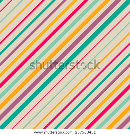 Abstract colorful diagonal striped background. Vector seamless pattern - stock vector