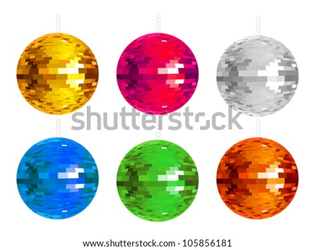 abstract colorful disco balls set  vector illustration - stock vector