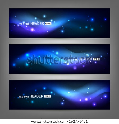 Abstract colorful dynamic elements, shiny space. Website header or banner set. Vector illustration EPS 10 - stock vector