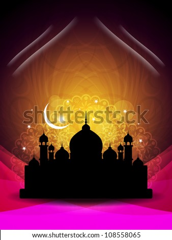 abstract colorful eid background with mosque. Vector illustration - stock vector