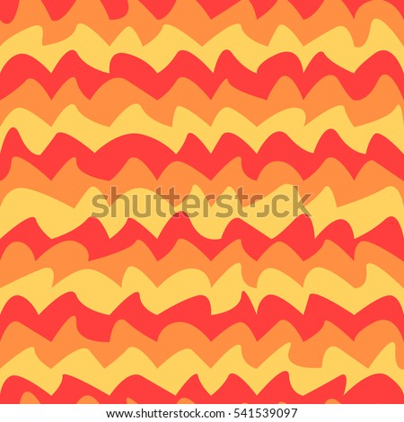 Abstract colorful fire or waves seamless pattern. Bright background in flat style.