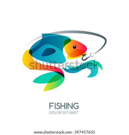 Abstract colorful fish and fishing hook. Vector fishing logo, label, emblem design elements. Trendy isolated illustration. - stock vector