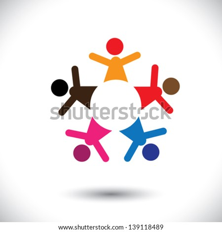 Abstract colorful five happy people icons as ring- vector graphic. This vector graphic can also represent concept of children playing together or team building or group activity,unity & diversity,etc - stock vector