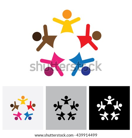 Abstract colorful five happy people vector logo icons as ring. This can also represent concept of children playing together or team building or group activity, unity & diversity - stock vector