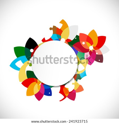 abstract colorful floral shape concept and blank circle for text, vector illustration - stock vector