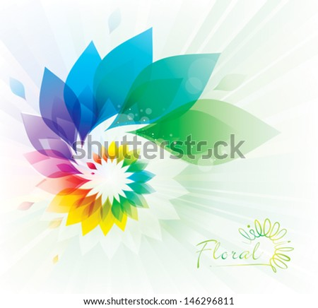 Abstract colorful floral swirl background. - stock vector