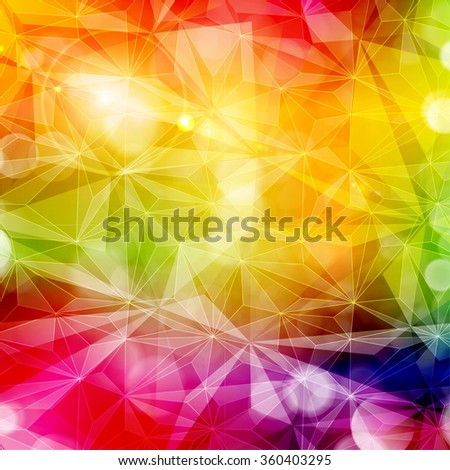 Abstract colorful geometric pattern with various light effects. Copy space. Bright, saturated and vivid rainbow colors. - stock vector