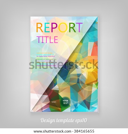 Abstract colorful geometric Report cover template design with triangular polygons. Business brochure document layout for company presentations. - stock vector