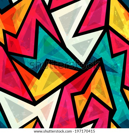 abstract colorful geometric seamless pattern with grunge effect - stock vector