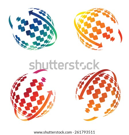abstract colorful Globe earth icon set | Business Icons Set - Isolated On White Background - Vector Illustration, Graphic Design Editable For Your Design. corporate Logo - stock vector