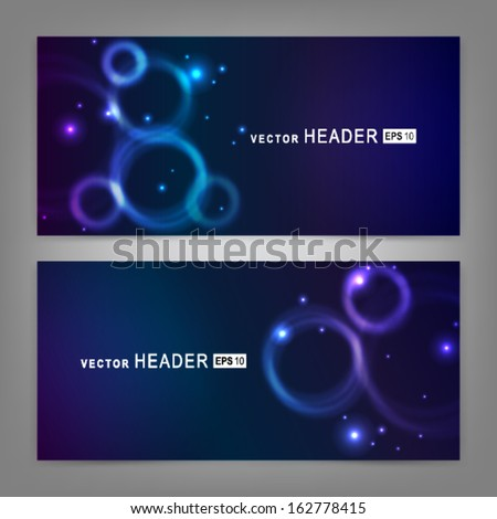 Abstract colorful glowing circles. Website header or banner set.  Vector illustration EPS 10 - stock vector