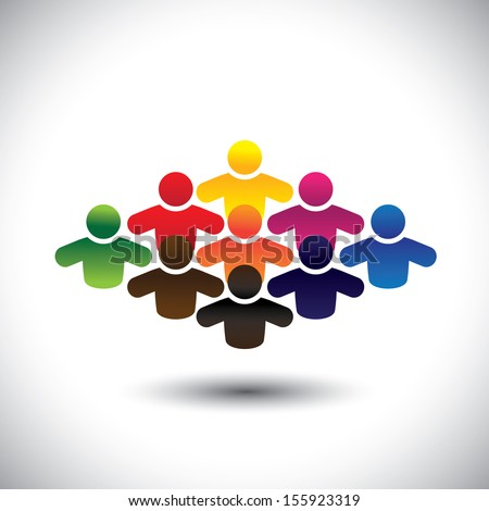 abstract colorful group of people or students or children - concept vector. The graphic also represents people icons in various colors forming a community of workers, employees or executives - stock vector
