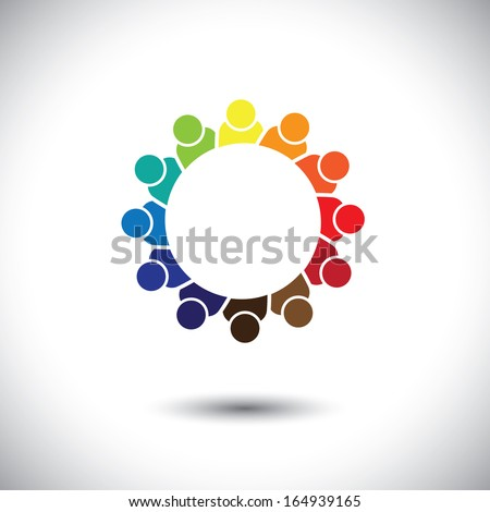 abstract colorful group of students in circle - concept vector. This abstract graphic also represents support group meeting, students learning, community unity, management strategy & planning - stock vector