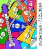 abstract colorful guitar pattern background, vector illustration - stock vector