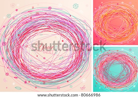 Abstract colorful hand drawn backgrounds. Vector illustration. - stock vector