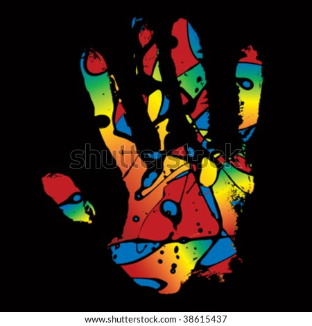 Abstract colorful hand imprint - stock vector
