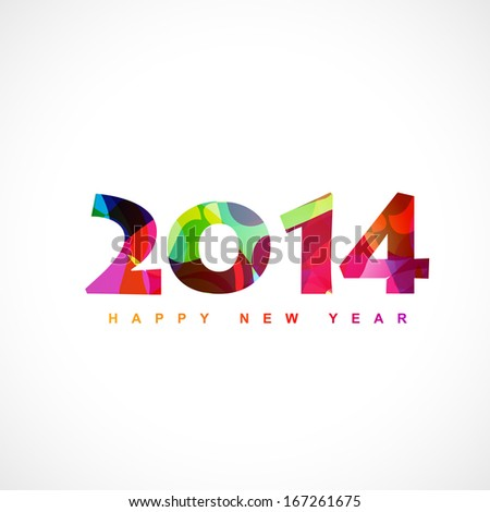 abstract colorful 2014 happy new year vector design - stock vector