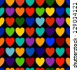 Abstract colorful hearts seamless pattern. - stock photo