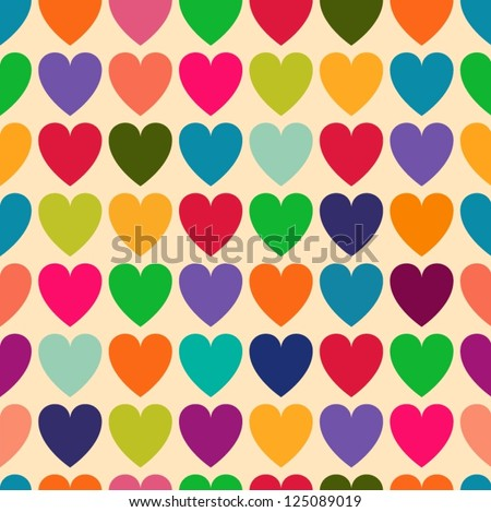 Abstract colorful hearts seamless pattern. - stock vector