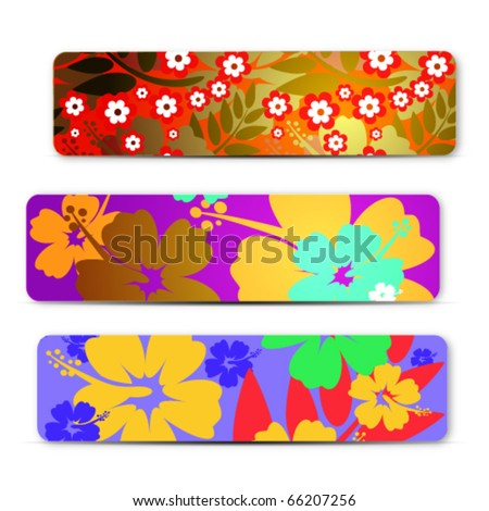 abstract colorful Hibiscus flower banners set, for design - stock vector