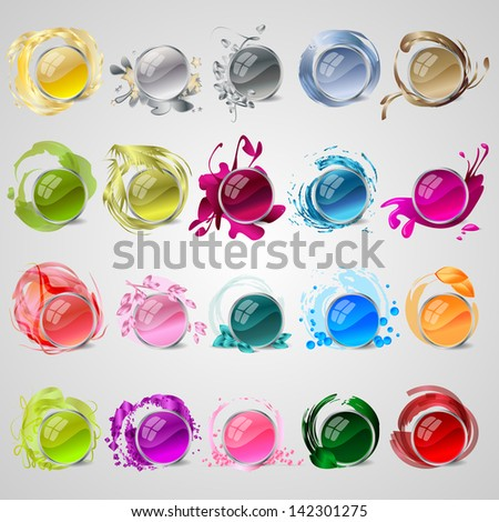 Abstract Colorful Icons Set - Isolated On Gray Background - Vector Illustration, Graphic Design Editable For Your Design. Logo Symbols  - stock vector