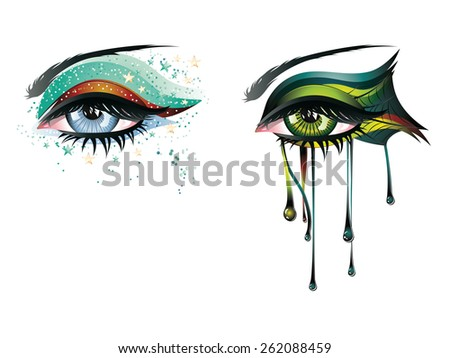 Abstract colorful illustration of eye makeup in carnival style. - stock vector