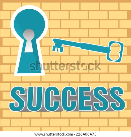 Abstract colorful illustration with a keyhole in a brick wall and a blue key. Success theme - stock vector