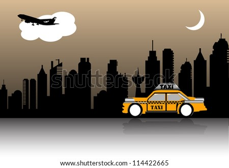 Abstract colorful illustration with a yellow cab crossing a city during the night - stock vector