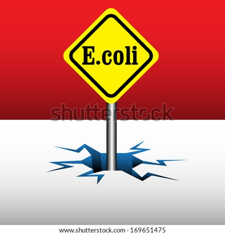 Abstract colorful illustration with a yellow plate with the text E.coli written with black letters. Escherichia coli bacterium concept - stock vector