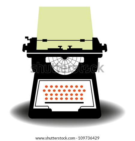 Abstract colorful illustration with an ancient typewriter isolated on a white background - stock vector