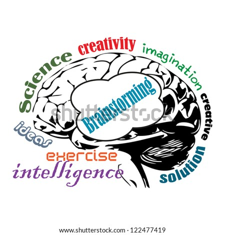 Abstract colorful illustration with an isolated brain surrounded with words related to the brainstorming concept - stock vector