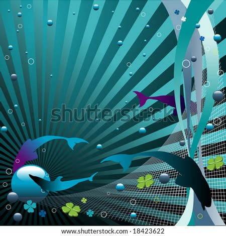 Abstract colorful illustration with blue bubbles, small circles, fish silhouettes and net trap - stock vector