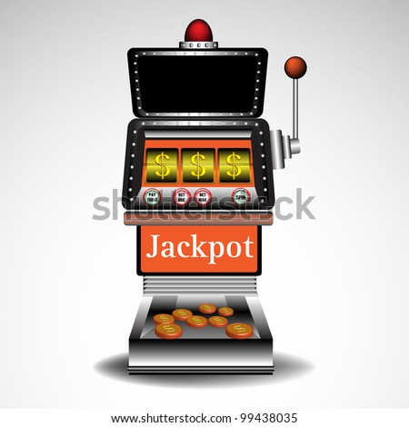 Abstract colorful illustration with coins coming out from a casino slot machine isolated on a white background. Gambling theme - stock vector
