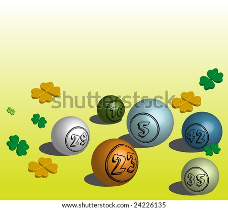 Abstract colorful illustration with colorful bingo balls and various clovers symbol of luck - stock vector