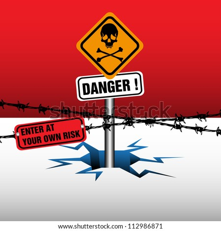 Abstract colorful illustration with danger sign coming out from an ice crack - stock vector