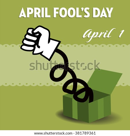Abstract colorful illustration with green box and a white fist coming out from the box. April fools day theme - stock vector