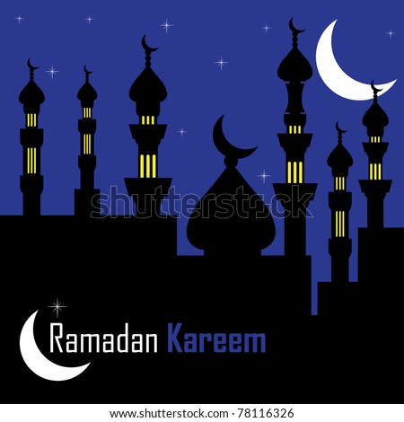 Abstract colorful illustration with islamic cityscape by night. Postcard for the holy month of Ramadan Kareem