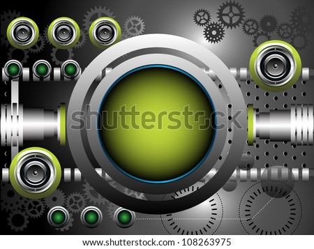 Abstract colorful illustration with metallic rounded green frame, green loudspeakers, cogwheels and various metallic elements. Technology background - stock vector