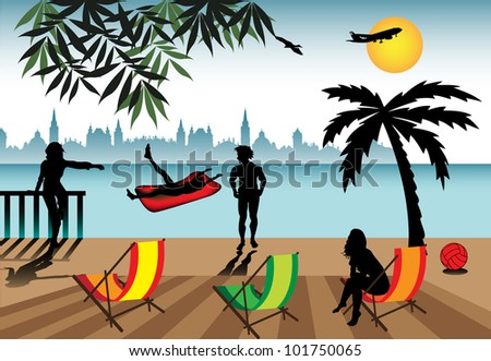 Abstract colorful illustration with people relaxing near the water during their holiday