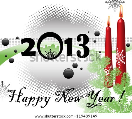 Abstract colorful illustration with red candles, green fir branches, snowflakes and the number 2013 written with black numbers. New Year concept - stock vector