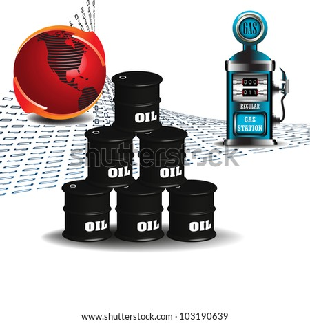 Abstract colorful illustration with red globe, black oil barrels and gas station pump - stock vector