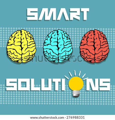 Abstract colorful illustration with three brains colored in different colors and the text smart solutions written with capital letters - stock vector