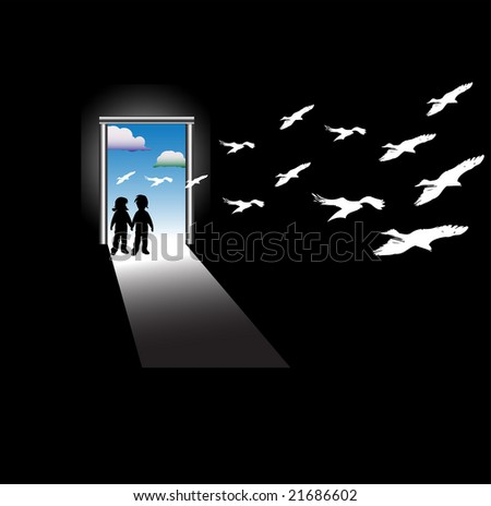 Abstract colorful illustration with two children standing in front of a door and watching white bird silhouettes flying in from outside - stock vector