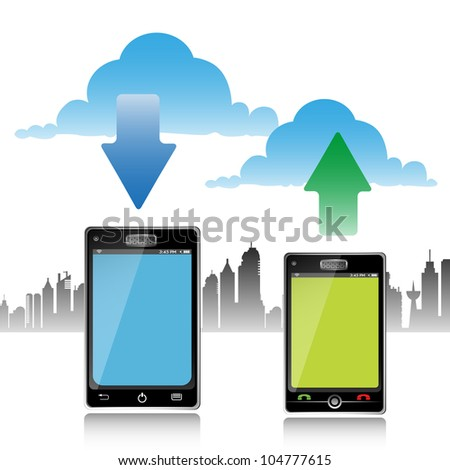 Abstract colorful illustration with two touch screen phones downloading and uploading. Cloud computing concept - stock vector