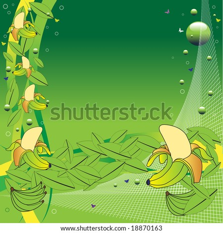 Abstract colorful illustration with white net, green bubbles, small butterflies, banana leafs, and bananas