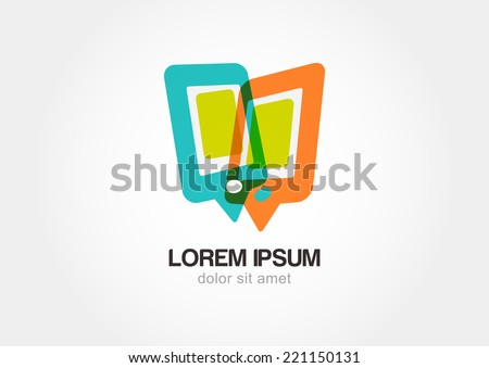 Abstract colorful mobile phone. Stylized waypoint. Speech bubbles, communication symbol. Vector logo icon template. - stock vector