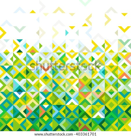 Abstract colorful mosaic mix geometric pattern design, tone of color gradation below to top part, vector illustration - stock vector